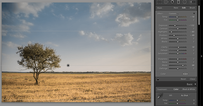 Panels in Lightroom with a landscape photo