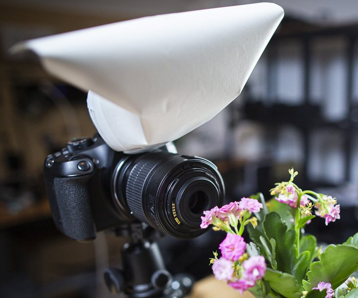 DIY flash diffuser attached to a camera
