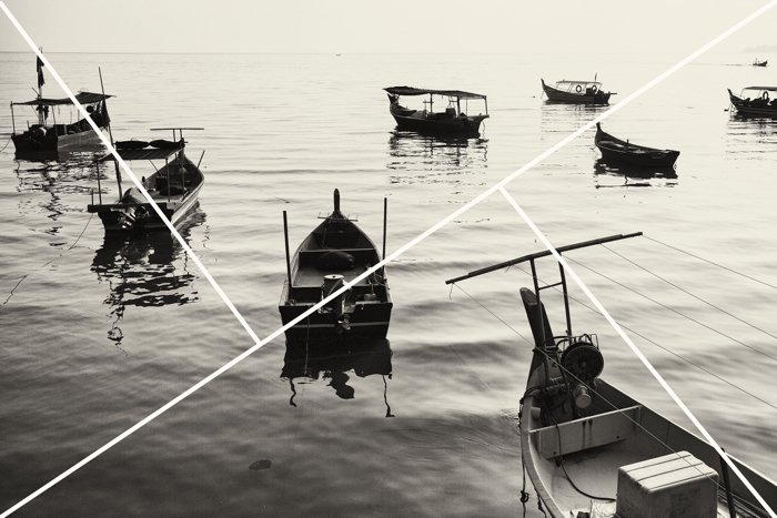 Black and white image of boats in water with composition overlay