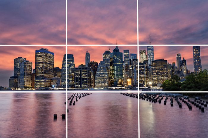 City skyline with rule of thirds overlay