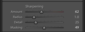 A screenshot of using sharpening in Lightroom