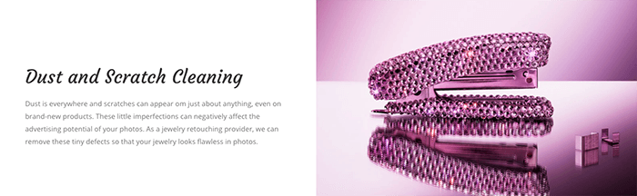 A screenshot from the Jewellery Retouch editing website