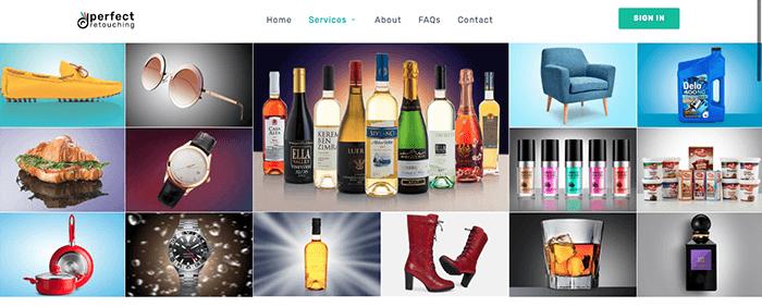 A screenshot from Perfect retouching website