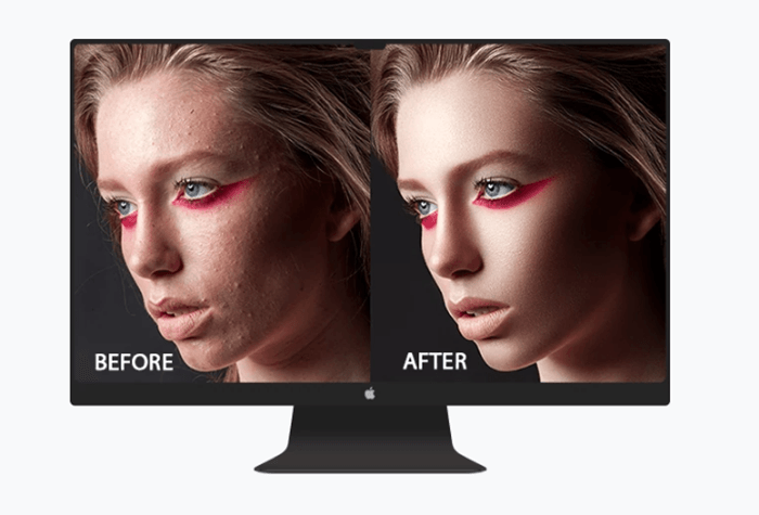 Portrait diptych before and after editing with Retouching experts website