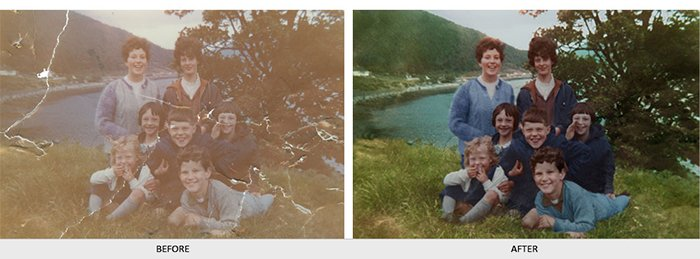 Diptych of a photo before and after editing with Vector People