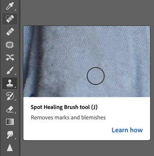 A screenshot of using the spot healing to edit fashion photos in Photoshop