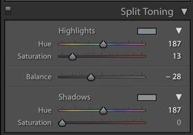 A screenshot of using split toning in Lightroom