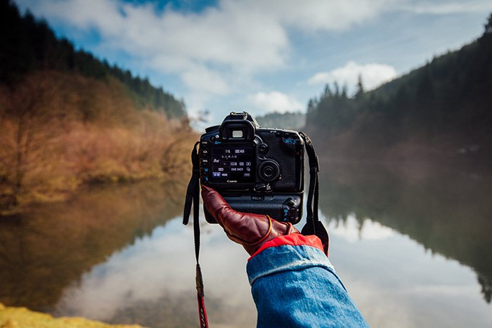 Photo of a hand holding a camera