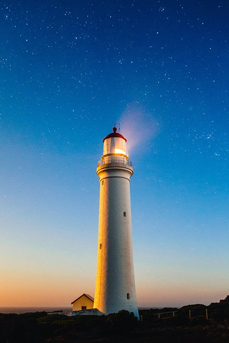 A lighthouse at night