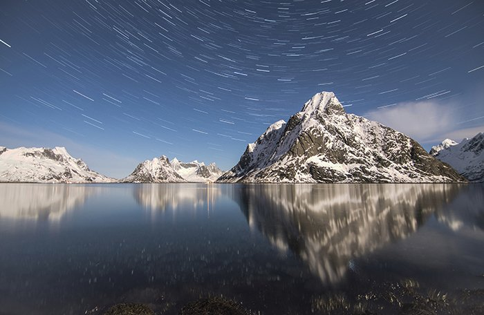 Time-lapse photo of a lake and mountains