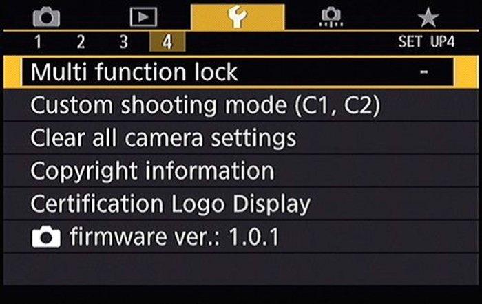 Screenshot of the Canon firmware menu