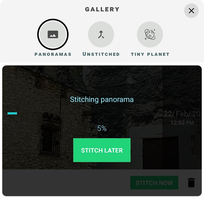 Screenshot of stitching a panorama with P360 app