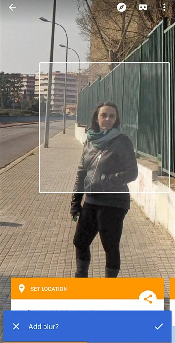 Screenshot of creating a 360 photo with Google Street View app