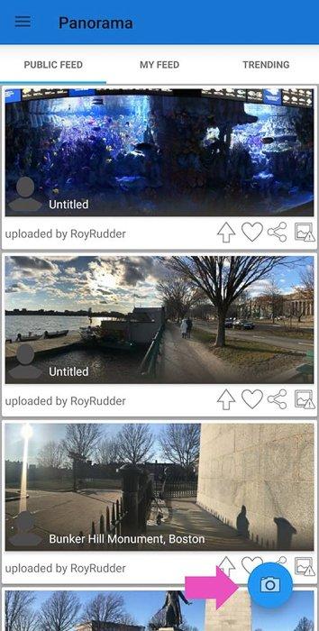 Screenshot of creating a 360 photo with Panorama app