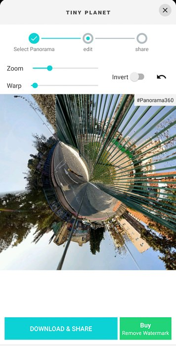 A screenshot of making Tiny Planets photo using P360 app