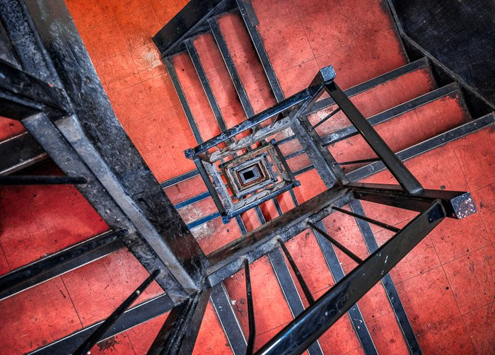 Interesting composition: Birdseye view of a spiral staircase