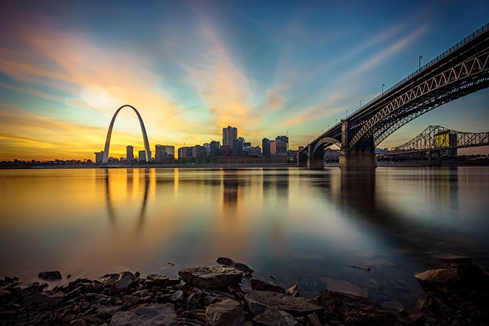 Composition tip: A the cityscape of St. Louis and the Gateway Arch at sunset