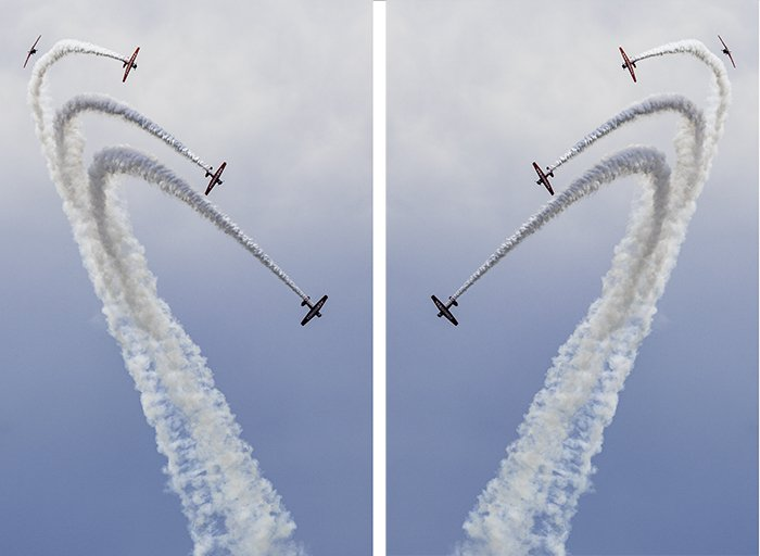 Diptych of airplanes performing stunts