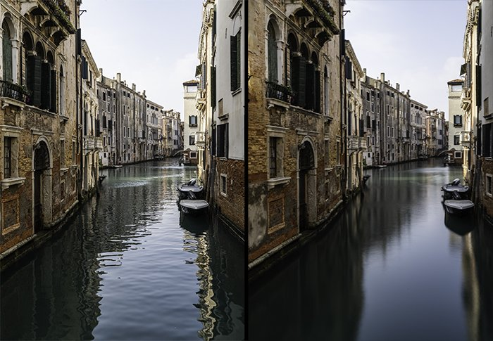 A diptych of a canal in venice, the right photo taken with a daytime long exposure photography settings