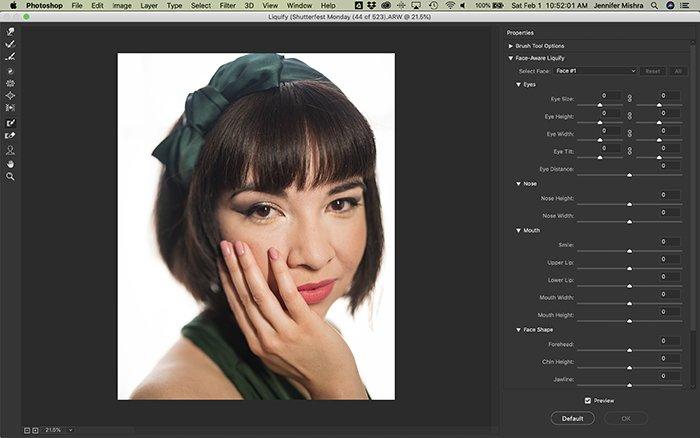 Screenshot of editing a portrait using the Liquify face tool