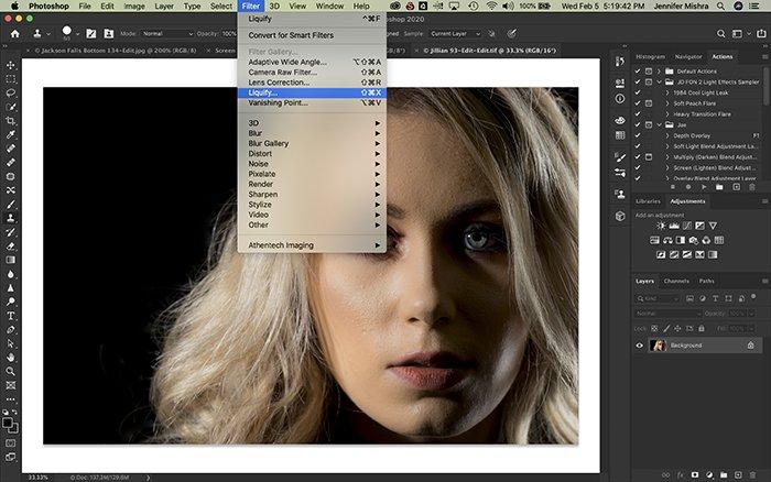 Screenshot of editing a female models facial features using liquify Photoshop