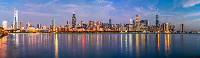 10-image panorama of the Chicago skyline.