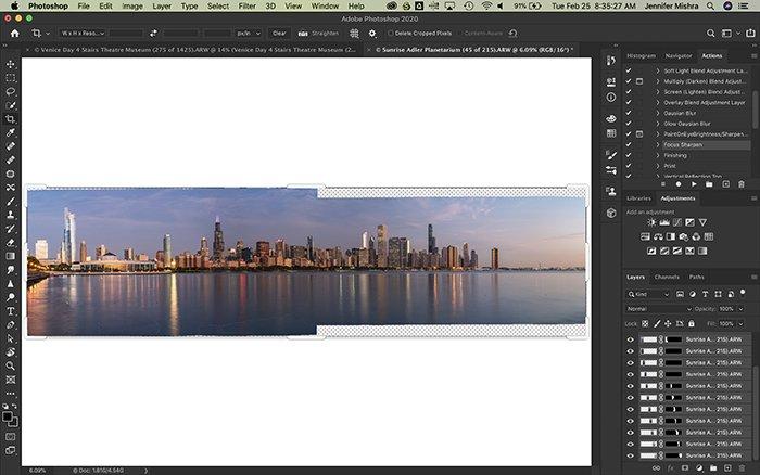 Screenshot of creating a panorama in Photoshop