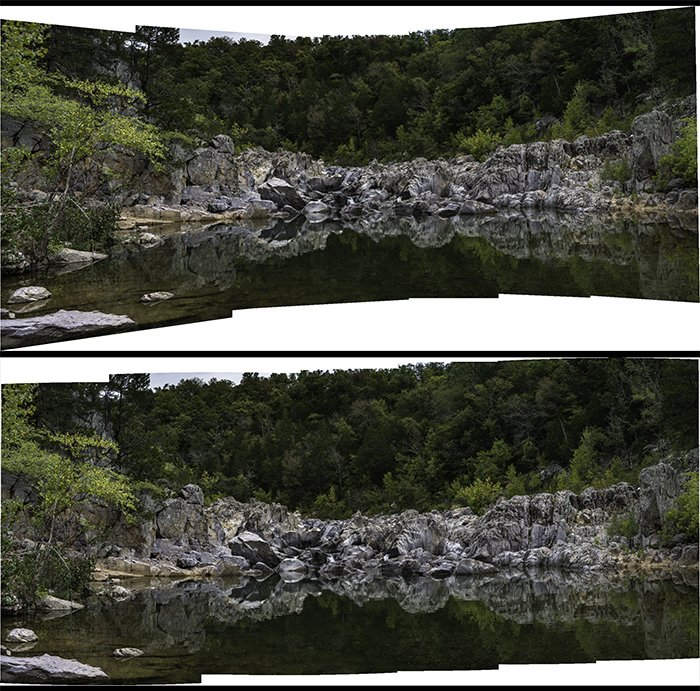 6-image panorama of a stream in the Missouri Ozarks.