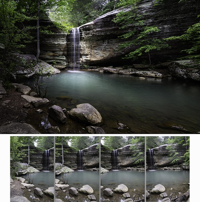 landscape-oriented panorama from four images created in portrait orientation.