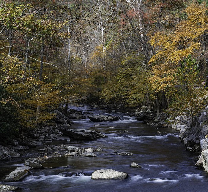 landscape panorama in the Smokey Mountains from three images