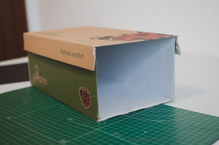 a shoe box with lid cut off