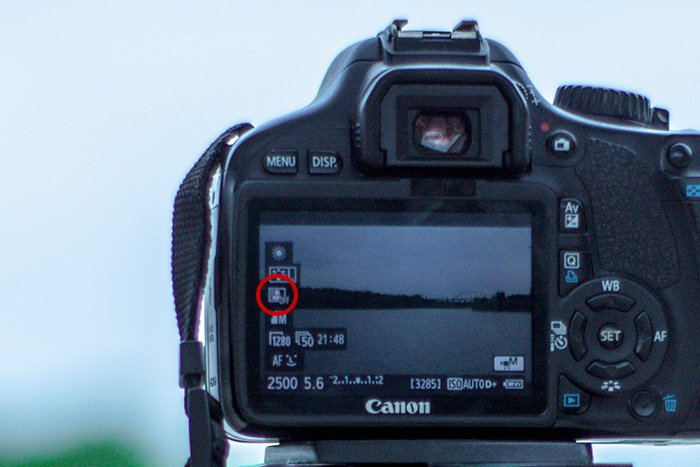 Photo of the ALO ico on the camera screen