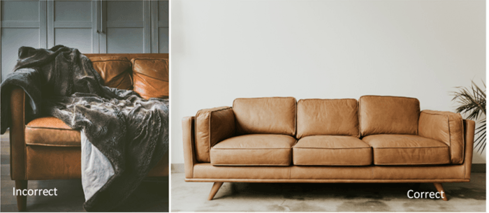 A diptych showing the incorrect and correct way to shoot product photography of a leather couch