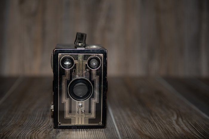 a vintage camera product photography shot