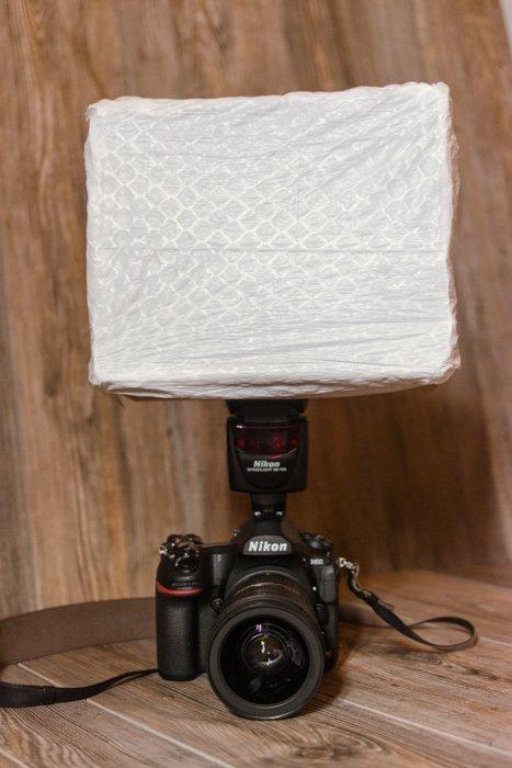 A DiY softbox over a Nikon DSLR