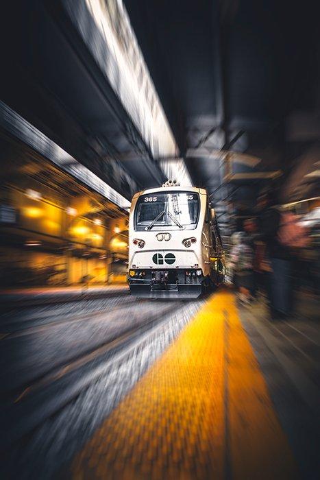 A train moving through a station