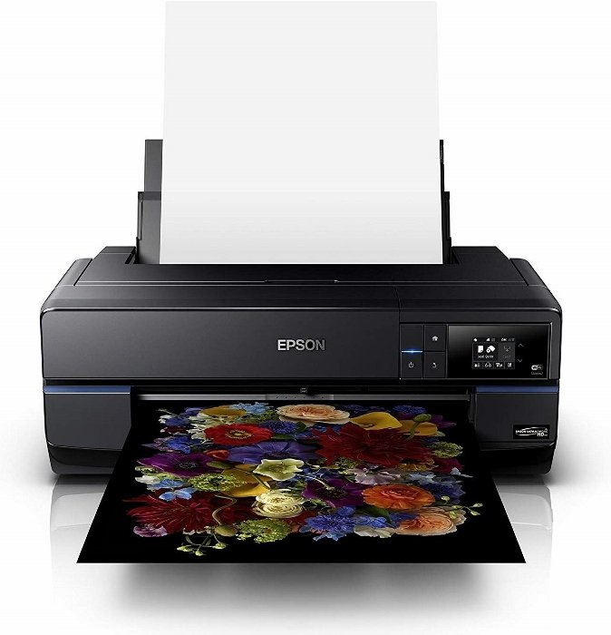 Epson printer printing a photo of brightly colored flowers
