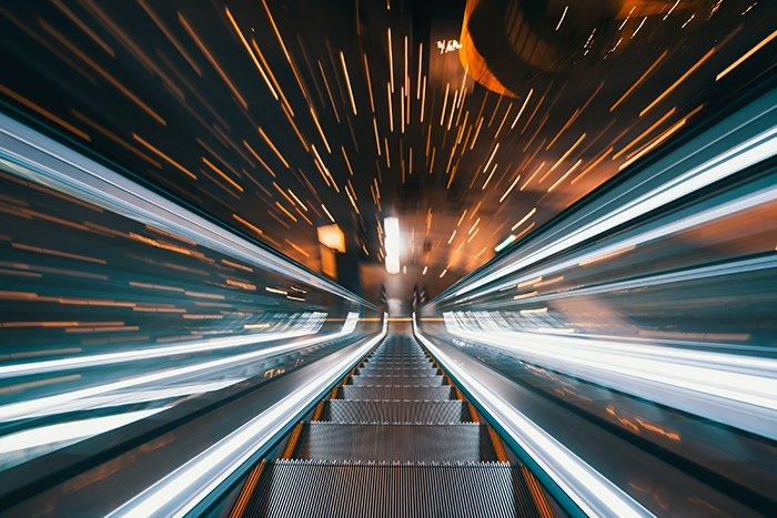 Cool shot going down an escalator