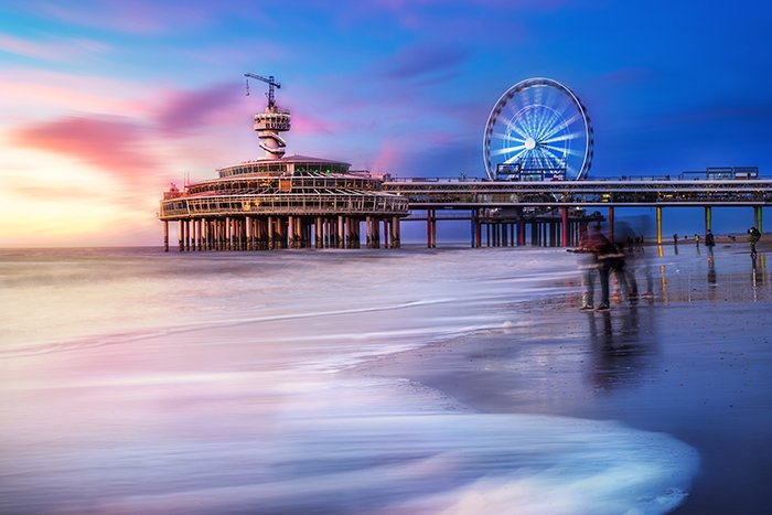 Colorful long exposure coastal landscape