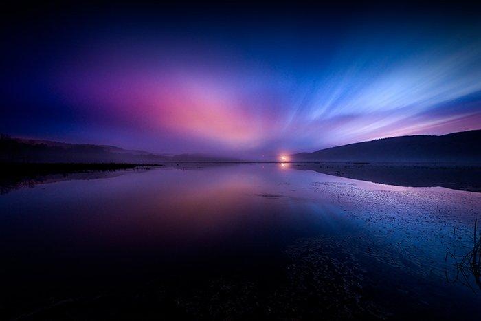 Colorful sunrise photo on a beach