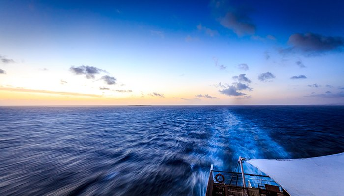 A seascape photographed from a boat