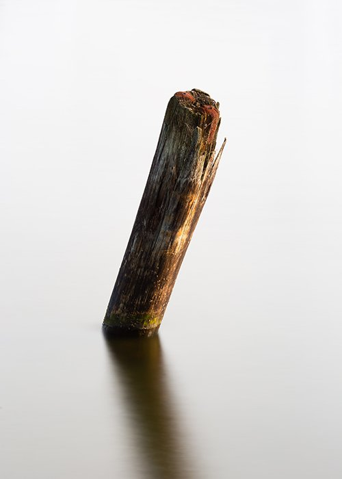 a wooden pole in water