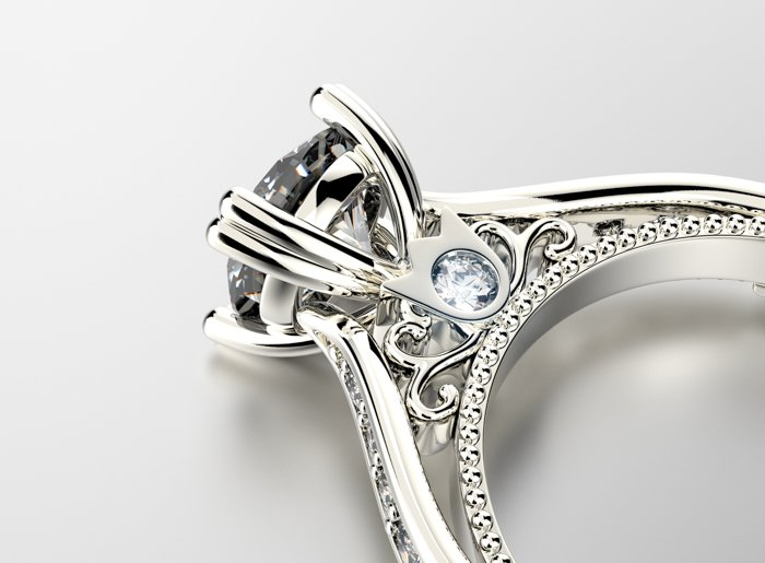 Jewelry product photo of details of an engagement ring