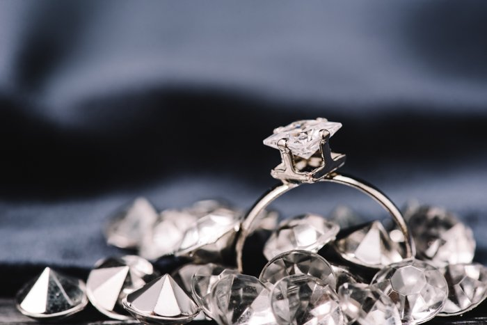 a ring with christals around it
