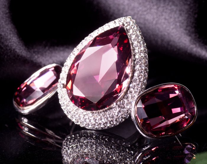Jewelry product photo of a huge pink ring