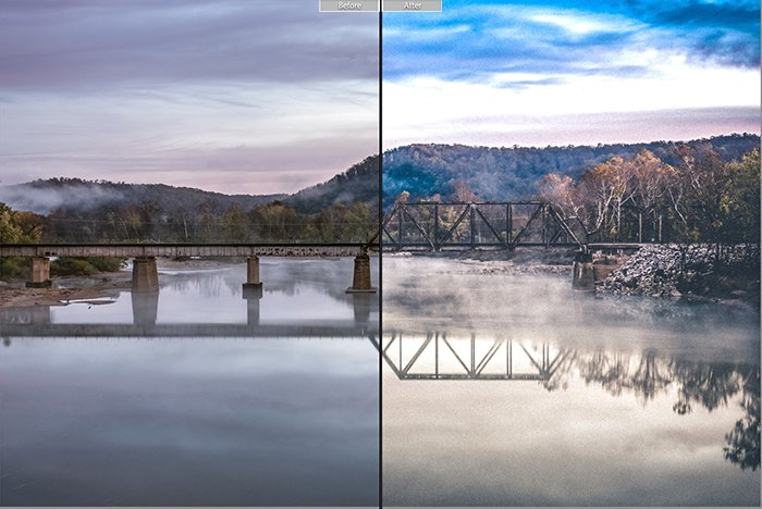 Pretty landscape photo edited with Aged Film Lightroom presets