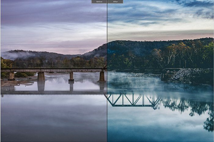 Pretty landscape photo edited with Cinematic Film Lightroom presets