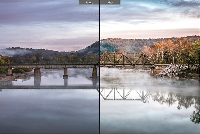 Split image showing before and after editing with Classic bright lightroom presets on a landscape photo