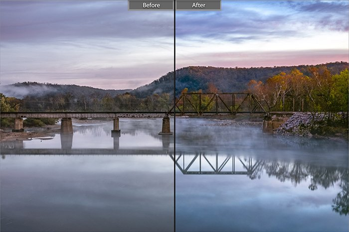 Split image showing before and after editing with Dull Slot Canyon lightroom presets on a landscape photo