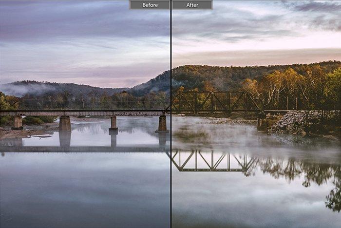 Pretty landscape photo edited with Enter Sandman Lightroom presets